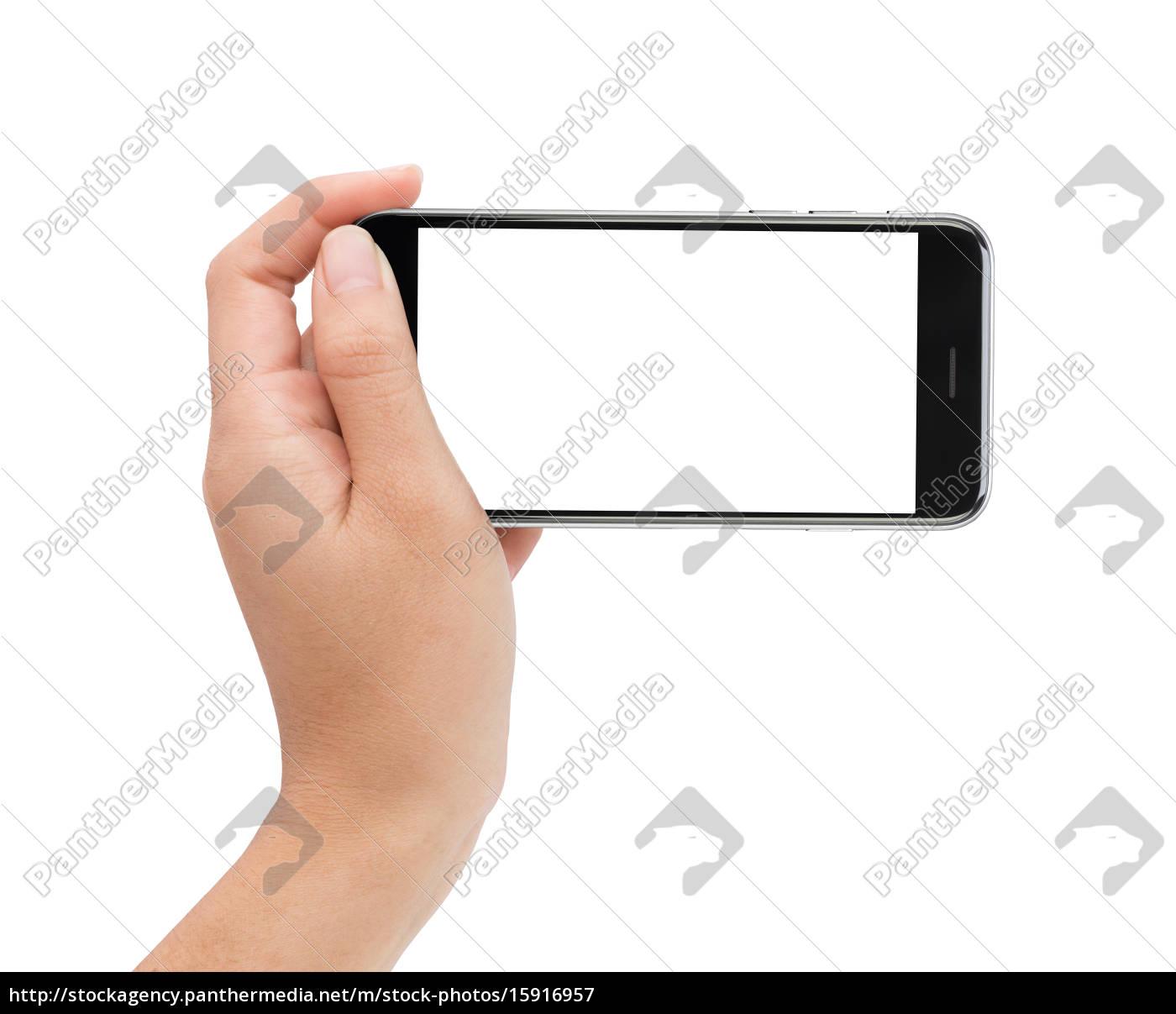 female, hand, holding, phone, white, screen - 15916957