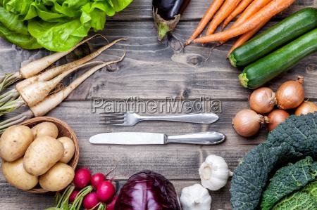 cibo ingredienti organico verdure tavolo fondale