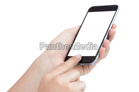 female hand using phone isolated on