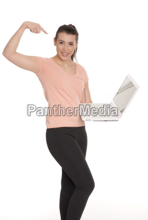young woman holding presentation pointing to