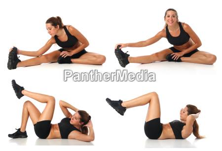 collage di fitness giovane donna che