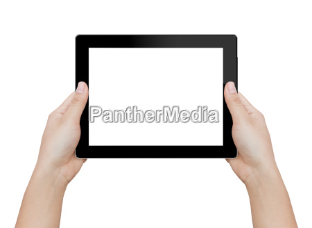 woman hand holding digital tablet isolated