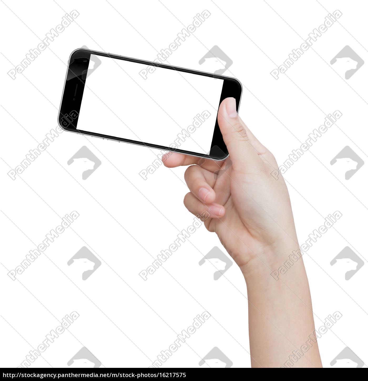mano, tenendo, telefono, nero, isolato, sul - 16217575
