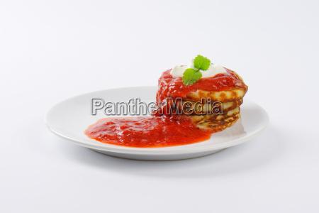 pancakes with strawberry puree