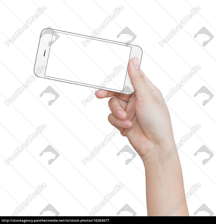 mano, tenendo, il, telefono, bianco, isolato - 16284677
