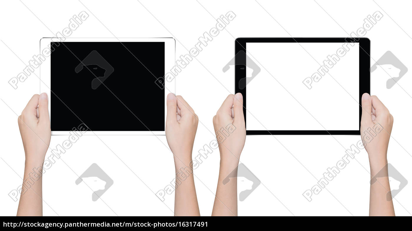 close-up, mano, tenendo, tablet, isolato, percorso - 16317491