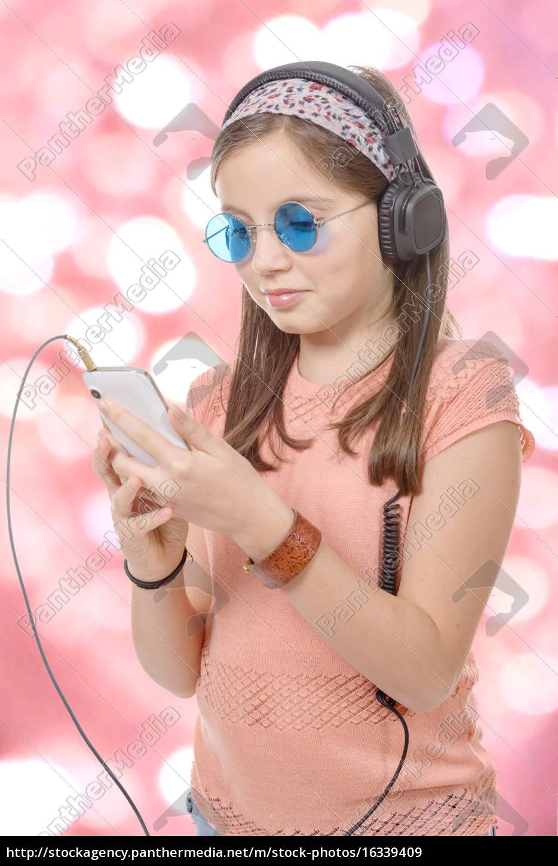 ragazza, preteen, ascoltando, musica, con, il - 16339409