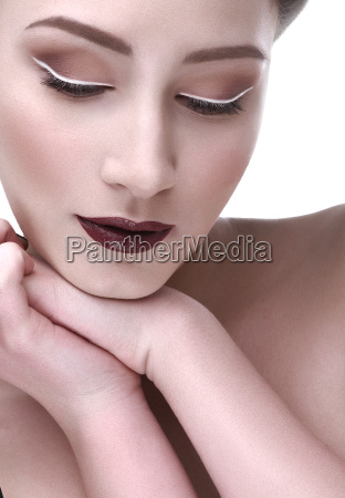 contrast, makeup, beautiful, woman, hand, shoulder - 16342791