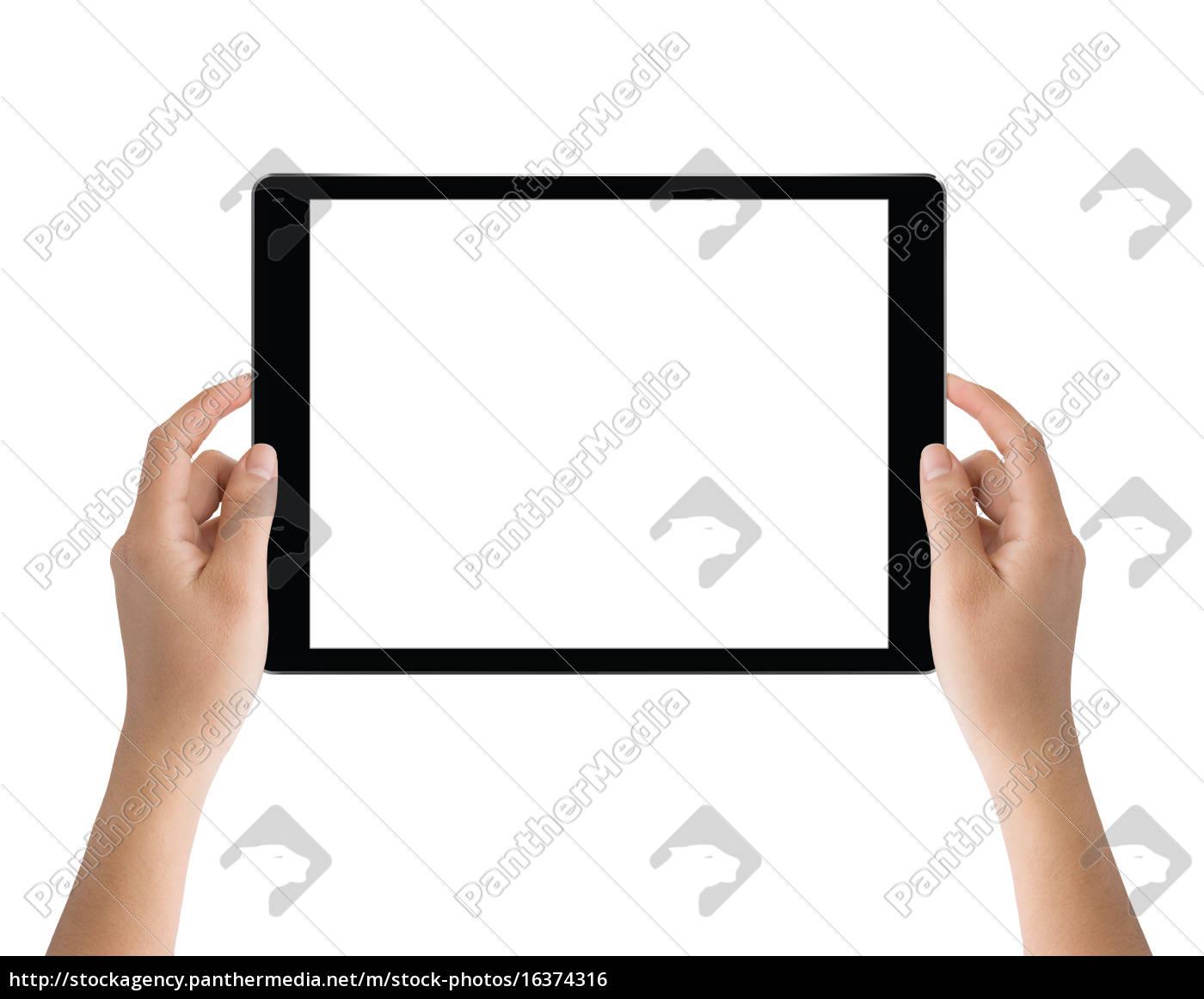 mano, tenendo, tablet, nero, isolato, sul - 16374316