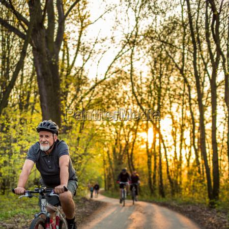 senior man on his mountain bike