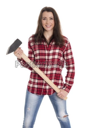 young woman in checkered shirt holding