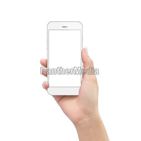 mano, tenendo, il, telefono, isolato, sul - 16454158