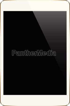mock up gold tablet isolated on