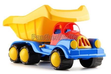 colorato camion giocattolo di plastica isolato
