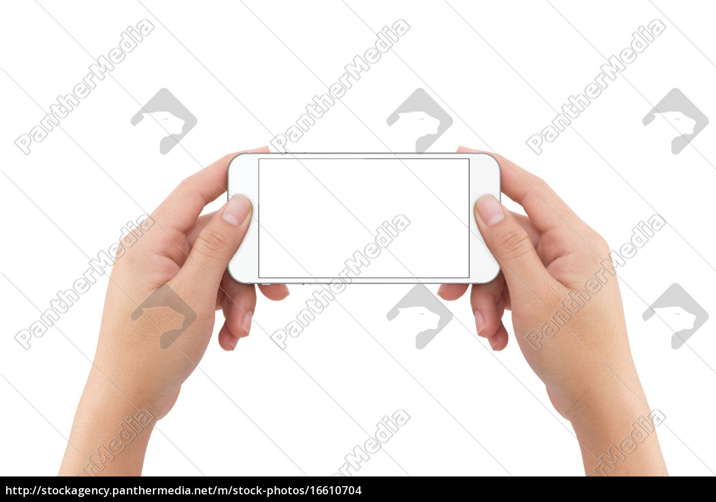 hand, holding, phone, blank, screen, isolated - 16610704