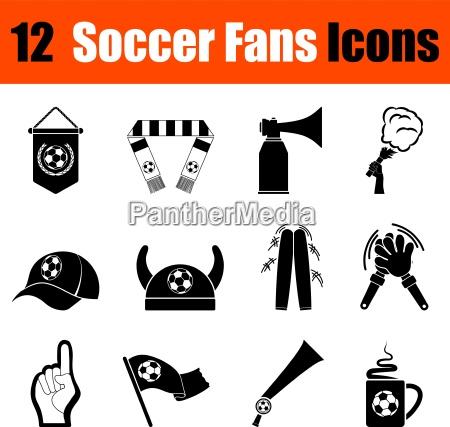 set di ventilatori di calcio icone