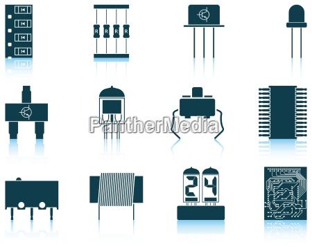 set di icone di componenti elettronici