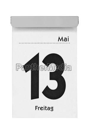 foglio di calendario venerdi febbraio 13