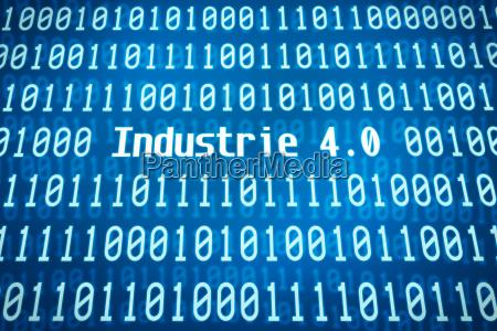 codice binario con la parola industria