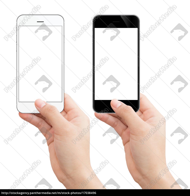 donna, mano, tenendo, telefono, isolato, percorso - 17038496