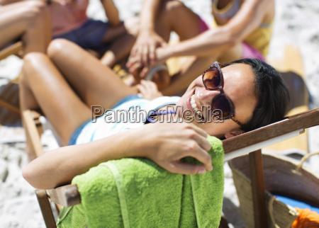 portrait of happy woman sitting in