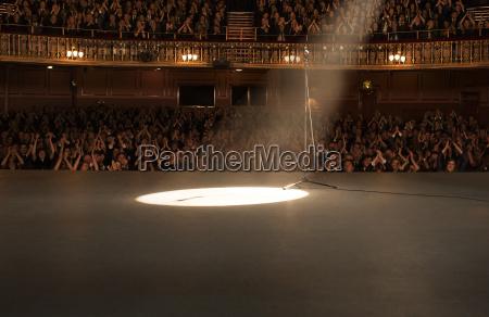 riflettori brillanti sul palco in teatro