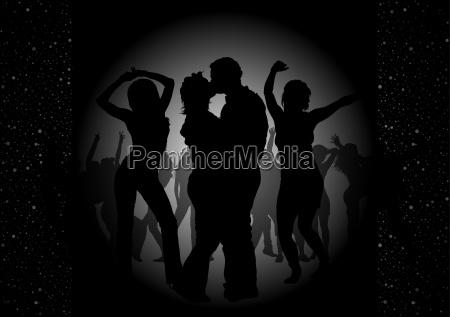 nero festa invito intimazione danza sagome
