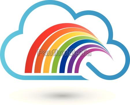 arte grafico nuvola arcobaleno dipingere logo
