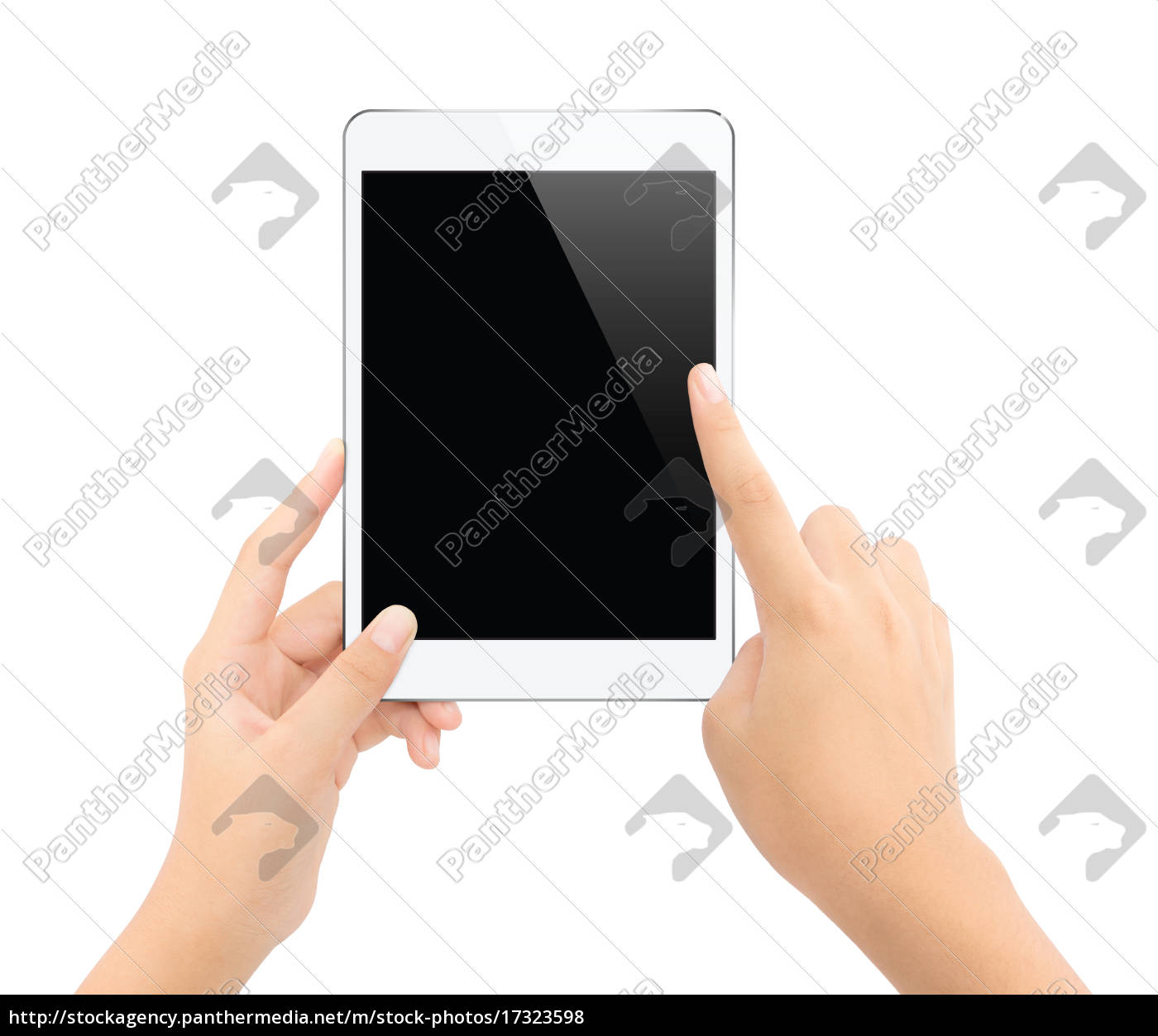 close, up, hand, touching, on, tablet - 17323598