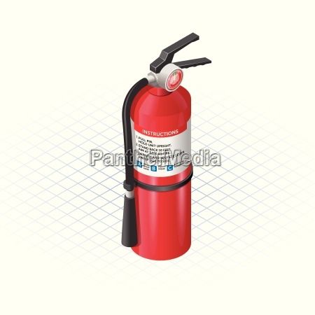 isometric extinguisher a safety equipment vector