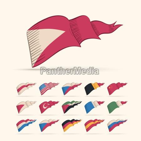 illustrazione bandiera triangolo paese raccolta parure