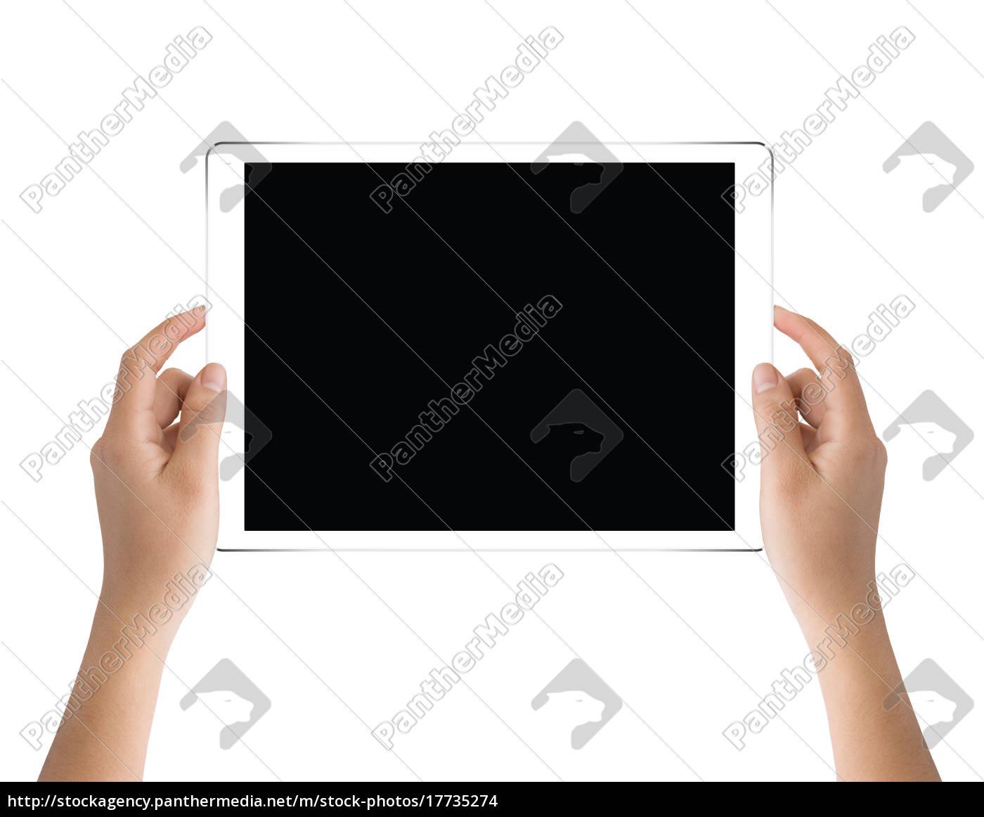 mano, tenendo, tablet, nero, isolato, sul - 17735274