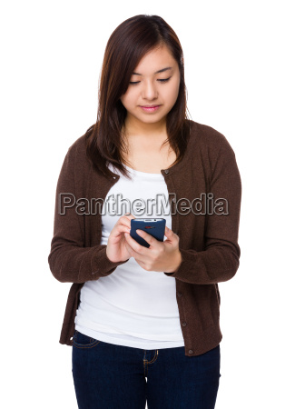 asian woman use of the mobile