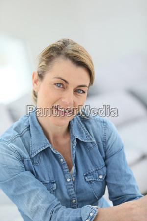 portrait of attractive mature blond woman