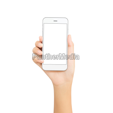 woman hand hold white phone isolated
