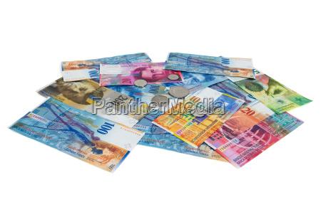 rilasciato argento monete appartato isolato svizzera