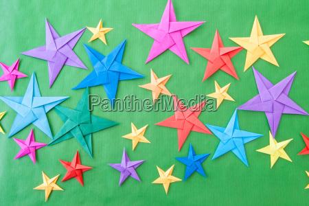 stelle di origami colorate