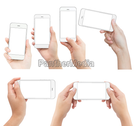 hand holding white phone isolated with