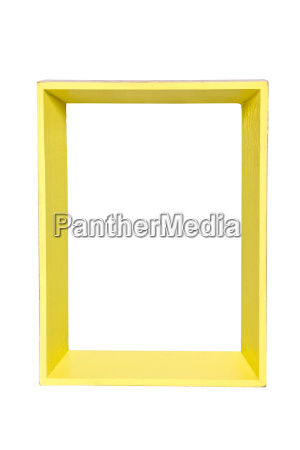 yellow photo frame on white background