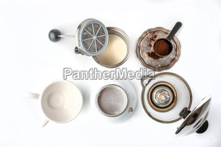 preparazione, caffè, set, sulla, vista, superiore - 18145810