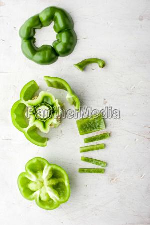 sliced sweet pepper on the white