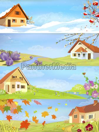 casa costruzione inverno estate quattro primavera