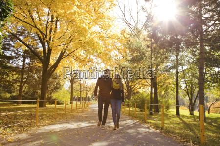 giovane coppia passeggiare autunno parco vienna