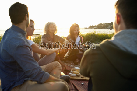 five adult friends having picnic on