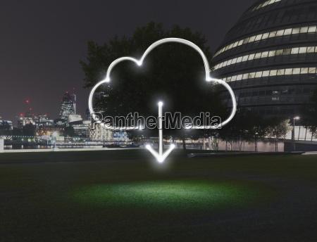 glowing simbolo nuvola con il download
