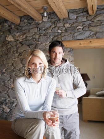 woman and man smiling at viewer