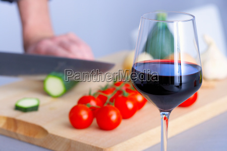 a glass of wine while