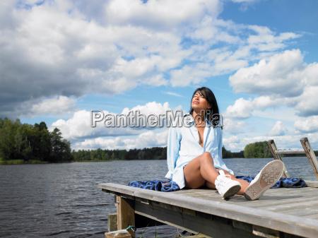 woman enjoying the beauty of nature