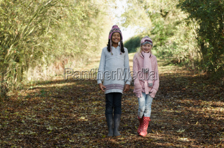 two girls on country lane