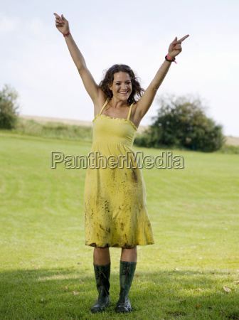 woman dancing in rubber boots